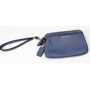 COACH Powder Blue Double Zip Wallet Wristlet